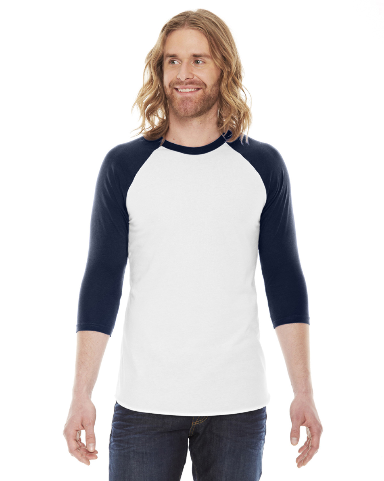 American Apparel Bb453 Unisex Poly Cotton 3 4 Sleeve