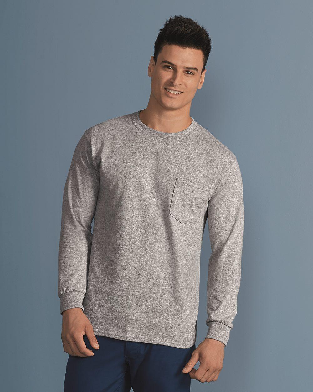 39e09385876 Gildan 2410 - Ultra Cotton Long Sleeve T-Shirt with a Pocket ...