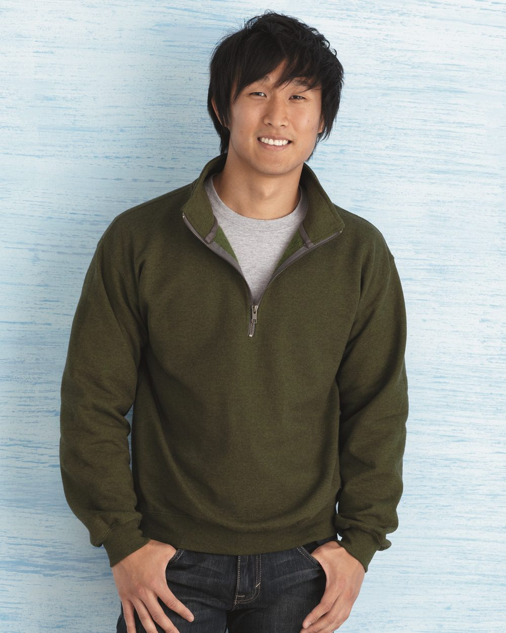 GILDAN Mens Fleece Quarter-Zip Cadet Collar Sweatshirt Shirt