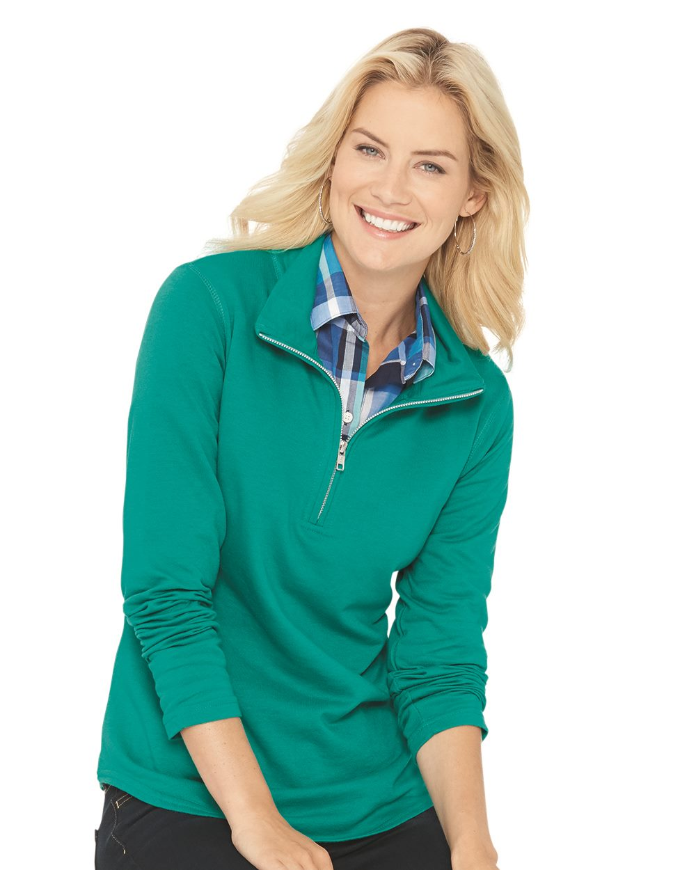 LAT 3764 - Women s Quarter Zip French Terry Pullover - Friendly ... 690f41d37