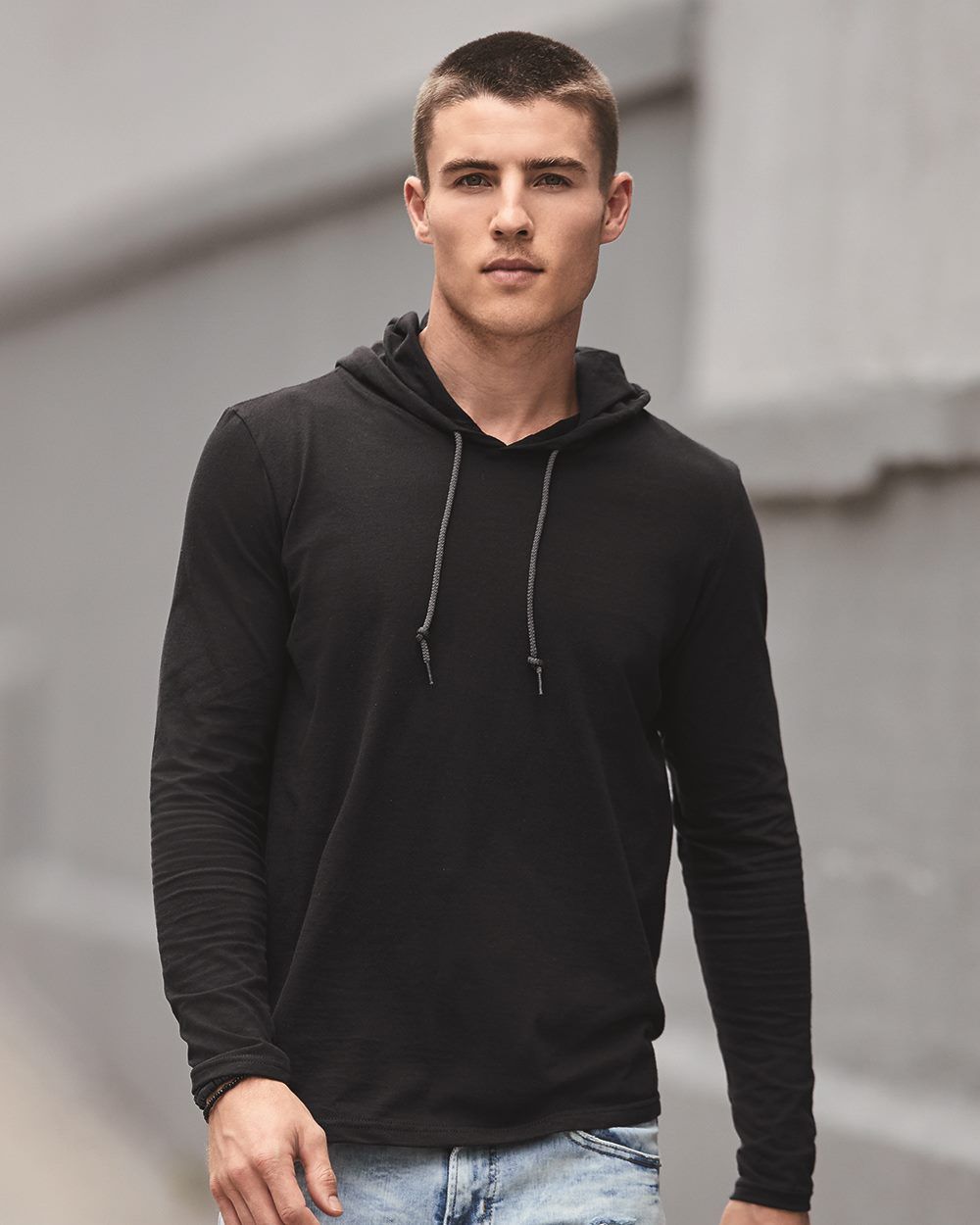 Anvil 987 - Lightweight Long Sleeve Hooded T-Shirt - Friendly ...