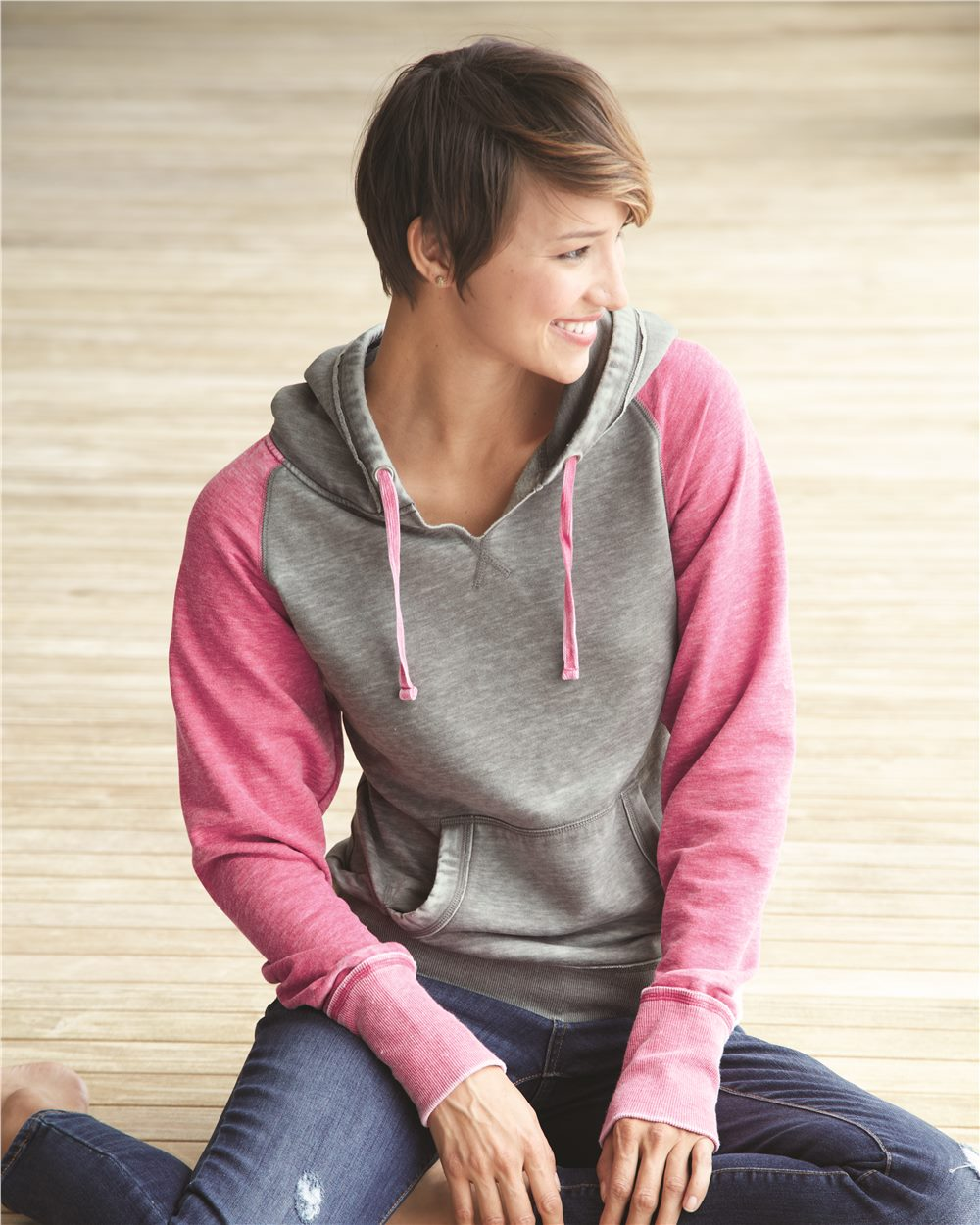 afbf2d6e7 J. America 8926 - Women's Zen Fleece Raglan Hooded Pullover Sweatshirt
