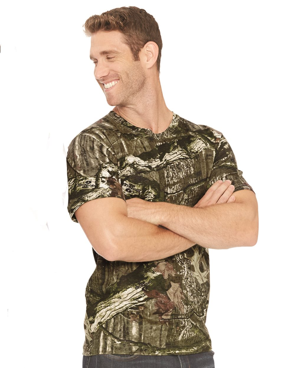 Code five 3970 adult mossy oak camo tee friendly for Camouflage t shirt printing